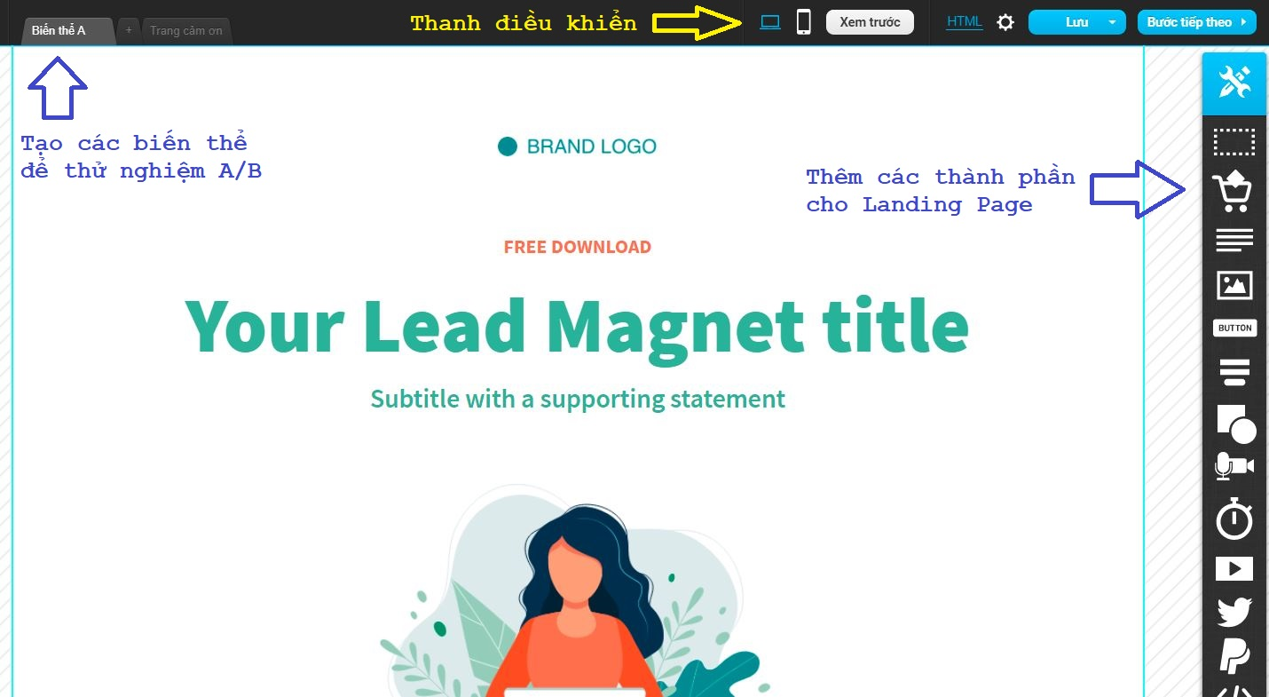 giao diện thiết kế landing page trong getresponse 2021